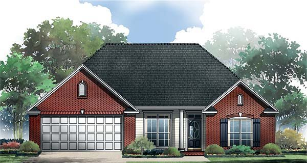 European, Ranch, Traditional House Plan 59062 with 3 Beds, 2 Baths, 2 Car Garage Elevation