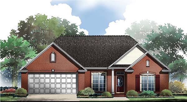 European, Traditional House Plan 59063 with 3 Beds, 2 Baths, 2 Car Garage Elevation
