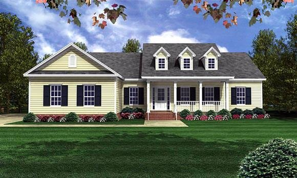 Country, Ranch, Southern, Traditional House Plan 59068 with 3 Beds, 3 Baths, 2 Car Garage Elevation
