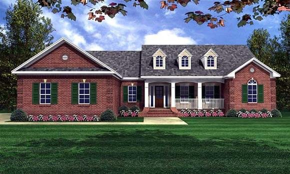 Ranch, Traditional House Plan 59070 with 4 Beds, 3 Baths, 2 Car Garage Elevation