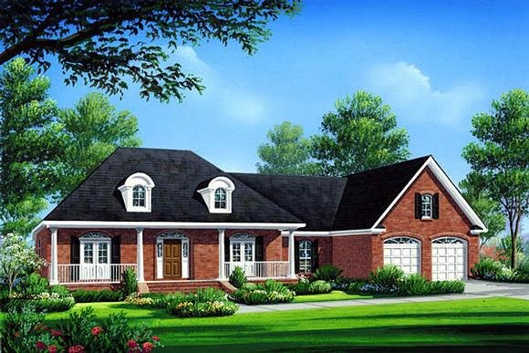 Country, Farmhouse, French Country, Southern House Plan 59072 with 3 Beds, 3 Baths, 2 Car Garage Elevation