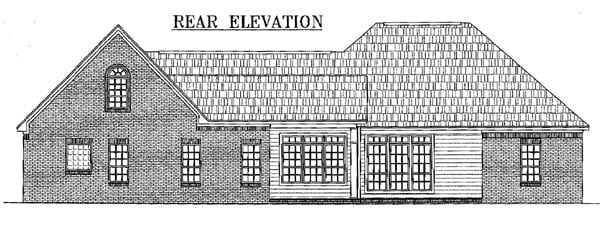 European, French Country, Ranch, Traditional House Plan 59074 with 3 Beds, 3 Baths, 3 Car Garage Rear Elevation
