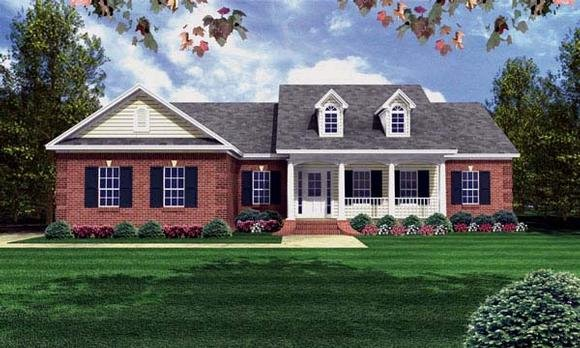 Country, Ranch, Southern, Traditional House Plan 59080 with 3 Beds, 2 Baths, 2 Car Garage Elevation