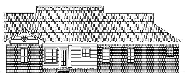 Country, Ranch, Southern, Traditional House Plan 59081 with 3 Beds, 2 Baths, 3 Car Garage Rear Elevation