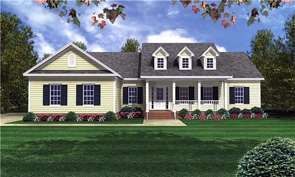 Country, Traditional House Plan 59085 with 3 Beds, 3 Baths, 2 Car Garage Elevation