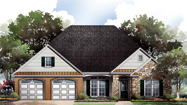 Craftsman, European, Traditional House Plan 59088 with 3 Beds, 3 Baths, 2 Car Garage Elevation