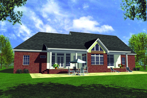 Country, Ranch, Southern House Plan 59094 with 3 Beds, 3 Baths, 2 Car Garage Rear Elevation