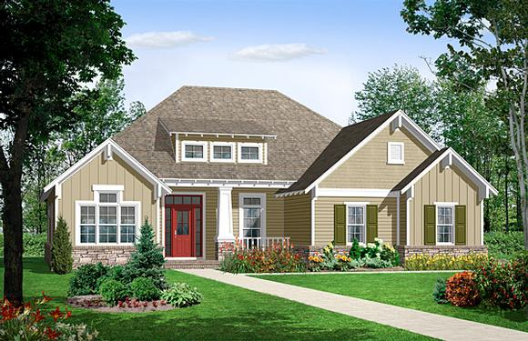 Bungalow, Craftsman, European House Plan 59101 with 3 Beds, 2 Baths, 2 Car Garage Elevation
