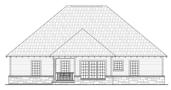 Bungalow, Craftsman, European House Plan 59101 with 3 Beds, 2 Baths, 2 Car Garage Rear Elevation