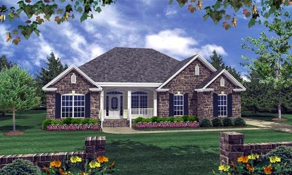 Country, European, Traditional House Plan 59103 with 3 Beds, 2 Baths, 2 Car Garage Elevation