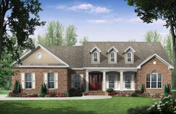 Country, European, Traditional House Plan 59106 with 3 Beds, 2.5 Baths, 2 Car Garage Elevation