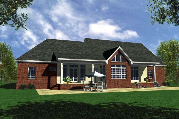 Country, Ranch, Traditional House Plan 59107 with 3 Beds, 3 Baths, 2 Car Garage Rear Elevation