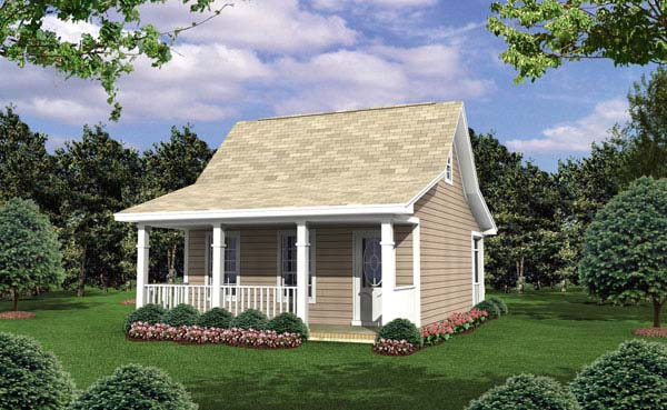 Cottage, Country, Southern House Plan 59108 with 1 Beds, 1 Baths Elevation