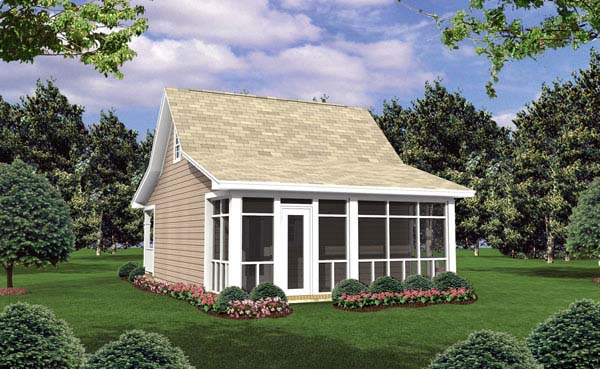 Cottage, Country, Southern House Plan 59108 with 1 Beds, 1 Baths Rear Elevation