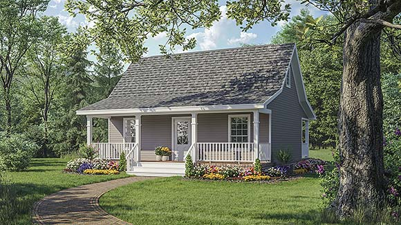 Cottage, Country, Southern House Plan 59110 with 1 Beds, 1 Baths Elevation