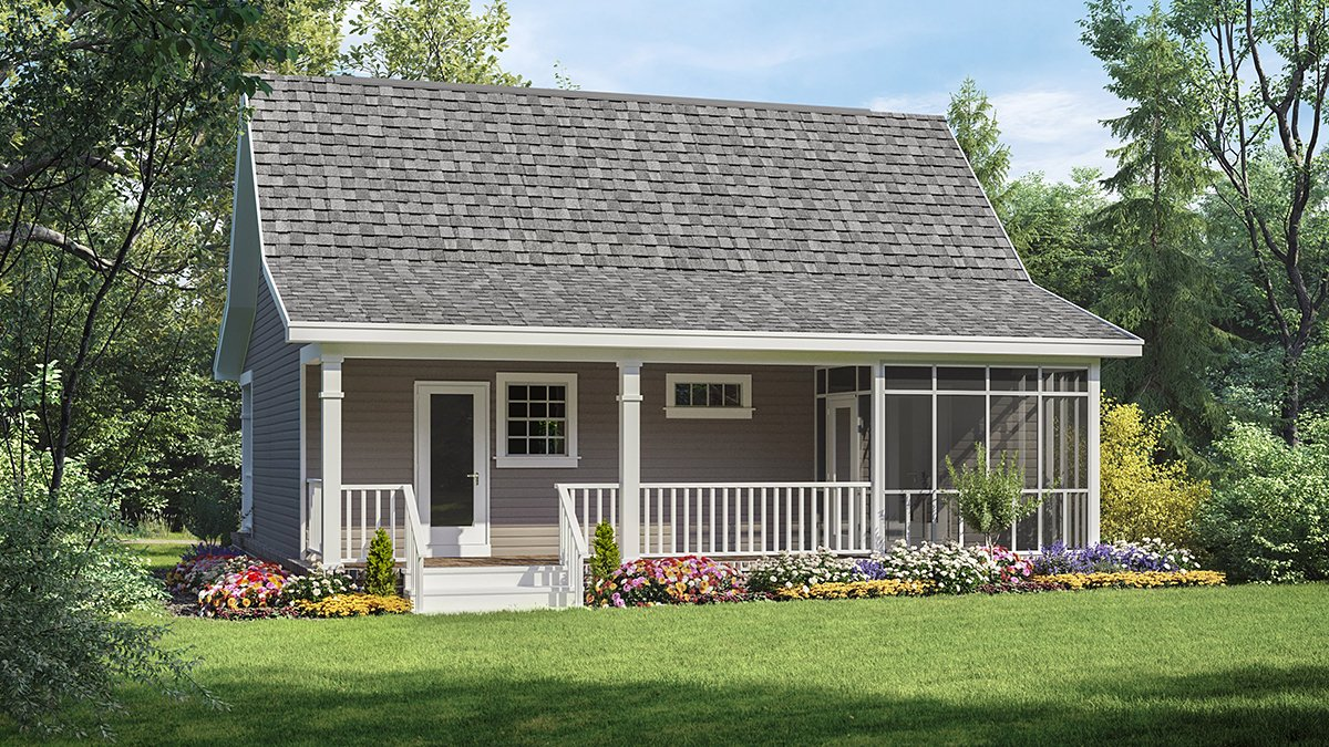 Cottage, Country, Southern House Plan 59110 with 1 Beds, 1 Baths Rear Elevation