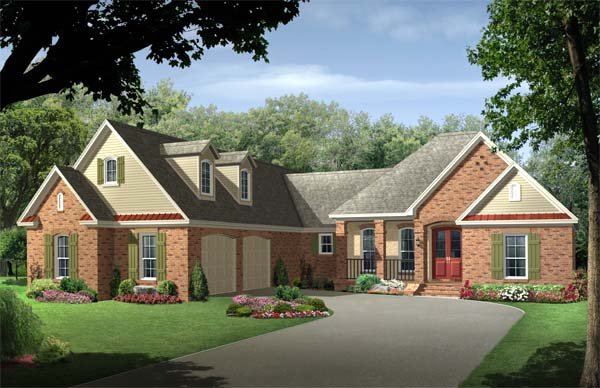 Country, European, Traditional House Plan 59113 with 4 Beds, 3 Baths, 2 Car Garage Elevation