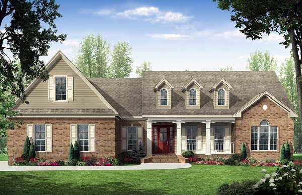 Country, Traditional House Plan 59114 with 3 Beds, 3 Baths, 2 Car Garage Elevation