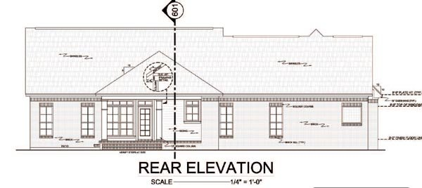 Country, Traditional House Plan 59114 with 3 Beds, 3 Baths, 2 Car Garage Rear Elevation