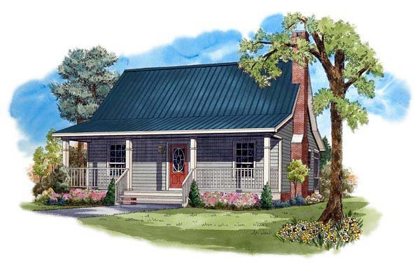 Cottage, Country, Farmhouse House Plan 59122 with 2 Beds, 1 Baths Elevation