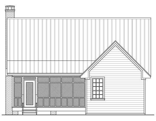 Cottage, Country, Farmhouse House Plan 59122 with 2 Beds, 1 Baths Rear Elevation
