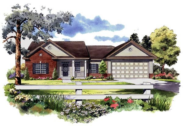Ranch, Southern, Traditional House Plan 59127 with 3 Beds, 3 Baths, 2 Car Garage Elevation