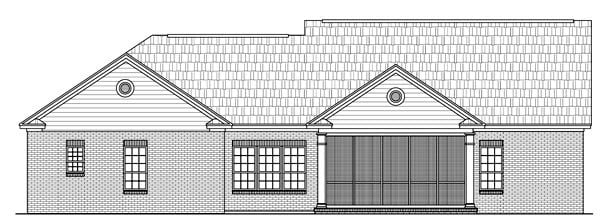 Ranch, Southern, Traditional House Plan 59127 with 3 Beds, 3 Baths, 2 Car Garage Rear Elevation