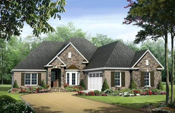 Country, European, Traditional House Plan 59133 with 3 Beds, 3 Baths, 2 Car Garage Elevation