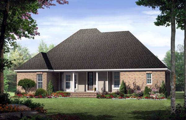 Country, European, Traditional House Plan 59133 with 3 Beds, 3 Baths, 2 Car Garage Rear Elevation
