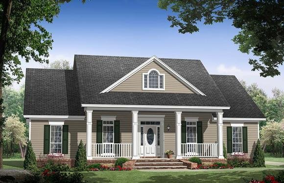 Country, Ranch, Traditional House Plan 59134 with 3 Beds, 3 Baths, 2 Car Garage Elevation