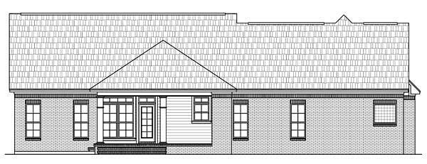 Country, Ranch, Traditional House Plan 59137 with 3 Beds, 3 Baths, 2 Car Garage Rear Elevation