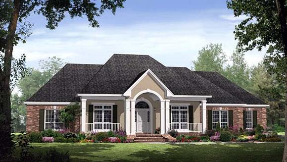 Country, European, Traditional House Plan 59145 with 4 Beds, 4 Baths, 2 Car Garage Elevation