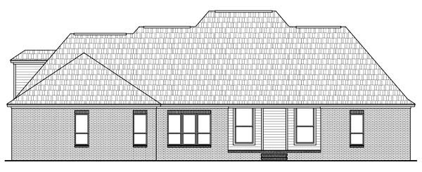Country, European, Traditional House Plan 59145 with 4 Beds, 4 Baths, 2 Car Garage Rear Elevation