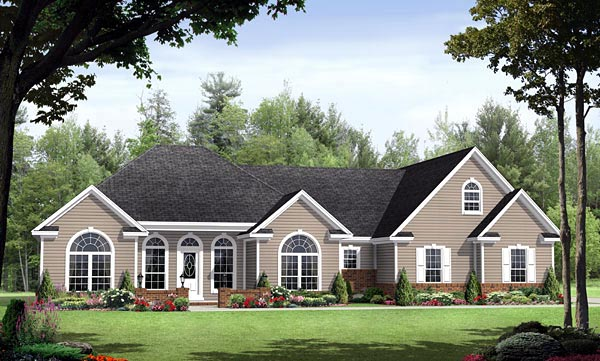 Country, European, Southern, Traditional House Plan 59152 with 3 Beds, 3 Baths, 2 Car Garage Elevation