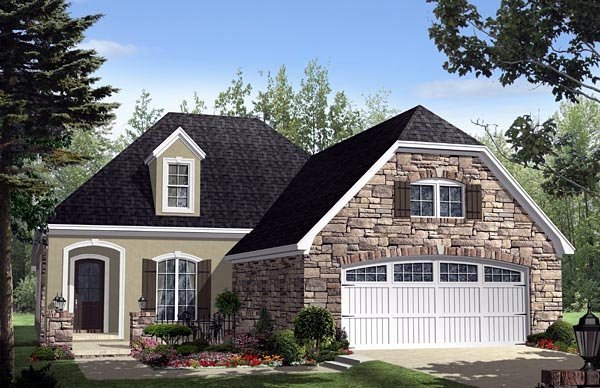 Cottage, Country, European, French Country House Plan 59159 with 3 Beds, 3 Baths, 2 Car Garage Elevation