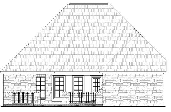 Cottage, Country, European, French Country House Plan 59159 with 3 Beds, 3 Baths, 2 Car Garage Rear Elevation