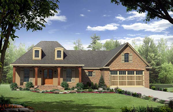 Country, European, French Country House Plan 59165 with 3 Beds, 2 Baths, 2 Car Garage Elevation