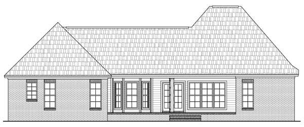 Country, European, French Country House Plan 59165 with 3 Beds, 2 Baths, 2 Car Garage Rear Elevation
