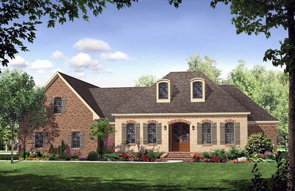 Country, European, French Country, Southern House Plan 59169 with 3 Beds, 3 Baths, 2 Car Garage Elevation