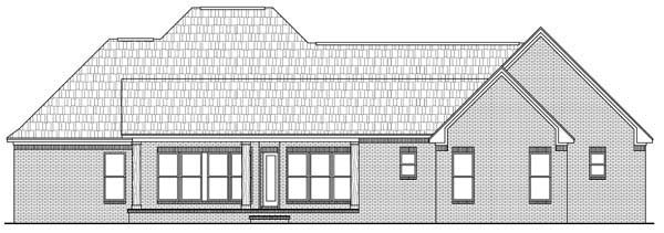 Country, European, French Country, Southern House Plan 59169 with 3 Beds, 3 Baths, 2 Car Garage Rear Elevation