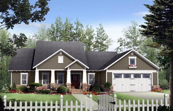 Cottage, Country, Craftsman House Plan 59170 with 3 Beds, 3 Baths, 2 Car Garage Elevation
