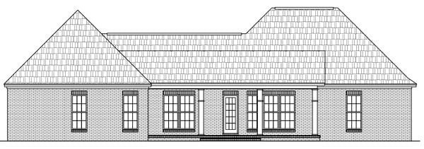 Colonial, European, Traditional House Plan 59173 with 3 Beds, 3 Baths, 2 Car Garage Rear Elevation