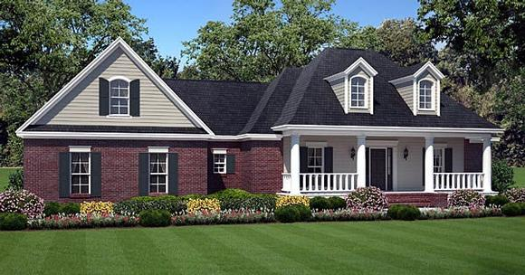Country, European, Traditional House Plan 59179 with 3 Beds, 2 Baths, 2 Car Garage Elevation