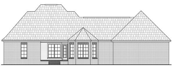 Country, European, Traditional House Plan 59179 with 3 Beds, 2 Baths, 2 Car Garage Rear Elevation