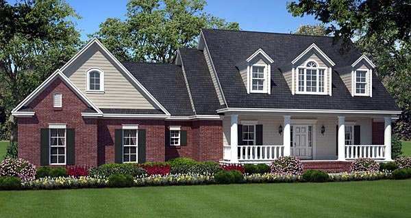 Country, Southern, Traditional House Plan 59180 with 3 Beds, 2 Baths, 2 Car Garage Elevation