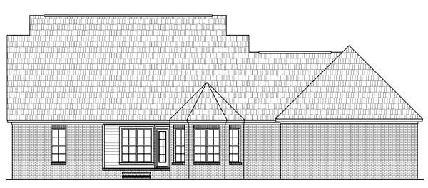 Country, Southern, Traditional House Plan 59180 with 3 Beds, 2 Baths, 2 Car Garage Rear Elevation