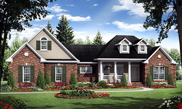 Country, European, French Country, Traditional House Plan 59181 with 3 Beds, 2 Baths, 2 Car Garage Elevation