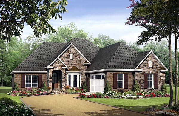 Country, European, Traditional House Plan 59184 with 3 Beds, 2 Baths, 2 Car Garage Elevation
