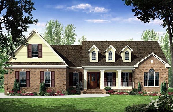 Country, Traditional House Plan 59187 with 3 Beds, 3 Baths, 2 Car Garage Elevation