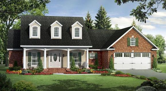 Country, Farmhouse, Southern, Traditional House Plan 59191 with 3 Beds, 2 Baths, 2 Car Garage Elevation